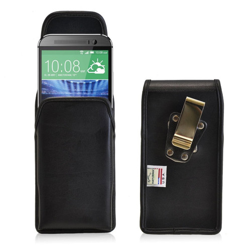 HTC One M8 Vertical Leather Holster, Metal Belt Clip