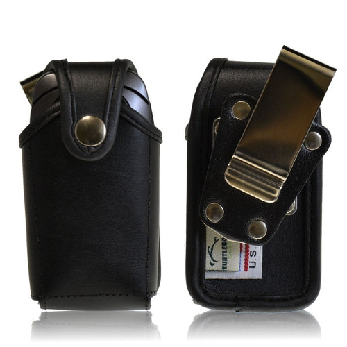 LG Revere 2 Leather Holster, Metal Belt Clip, Snap Closure