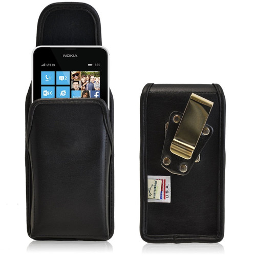 Nokia Lumia 635 Vertical Leather Holster, Metal Belt Clip