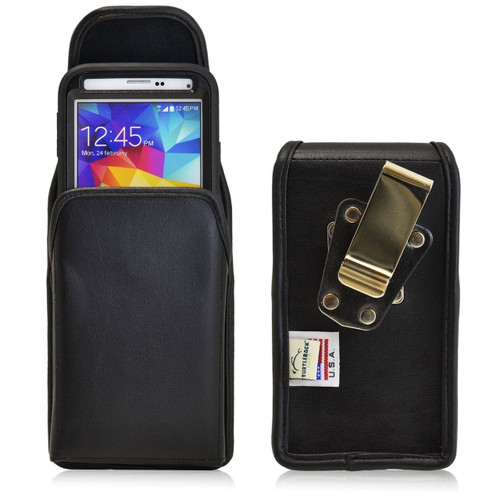 Vertical Leather Extended Holster for Samsung Galaxy S5 V with Bulky Cases, Metal Belt Clip
