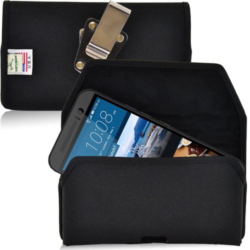 HTC One M9 Horizontal Nylon Holster, Metal Belt Clip
