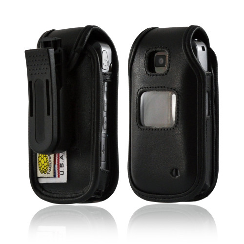 LG VX5600 Accolade Executive Fitted Black Leather Case Phone Case with Ratcheting Belt Clip
