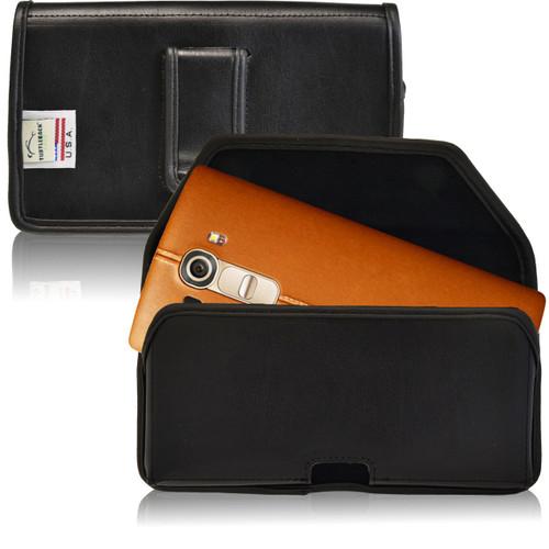 LG G4 Horizontal Leather Holster, Black Belt Clip