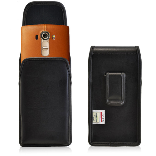 LG G4 Vertical Leather Holster, Black Belt Clip