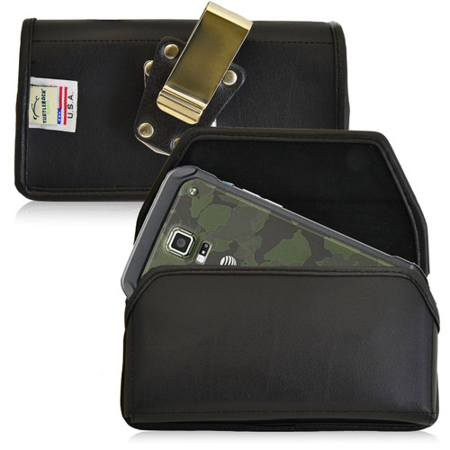 Samsung Galaxy S5 Active Horizontal Leather Holster, Metal Belt Clip