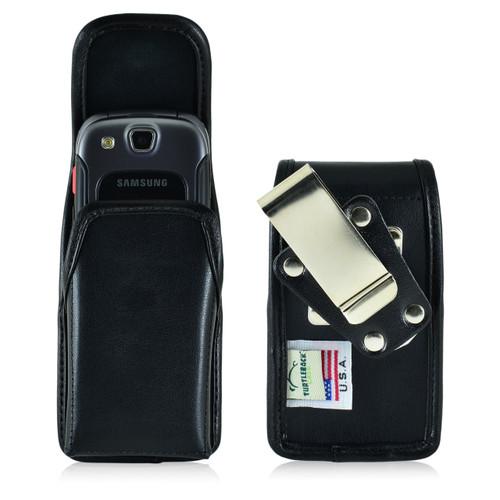 Samsung Convoy 3 U680 Vertical Black Leather Holster, Metal Belt Clip