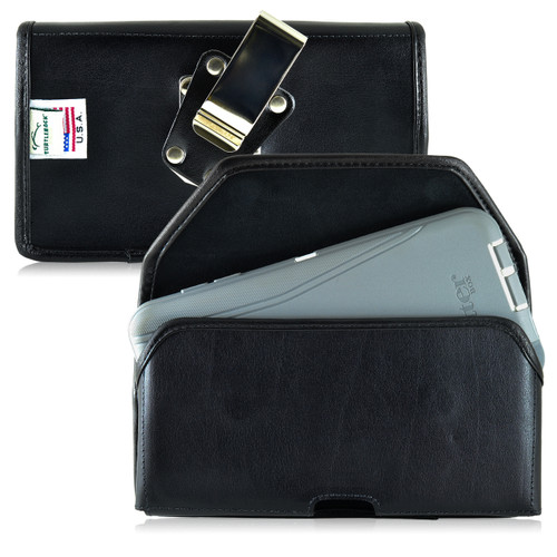 Galaxy Note 5 Leather Holster for Otterbox DEFENDER Case Metal Clip and Fits Bulk Cases