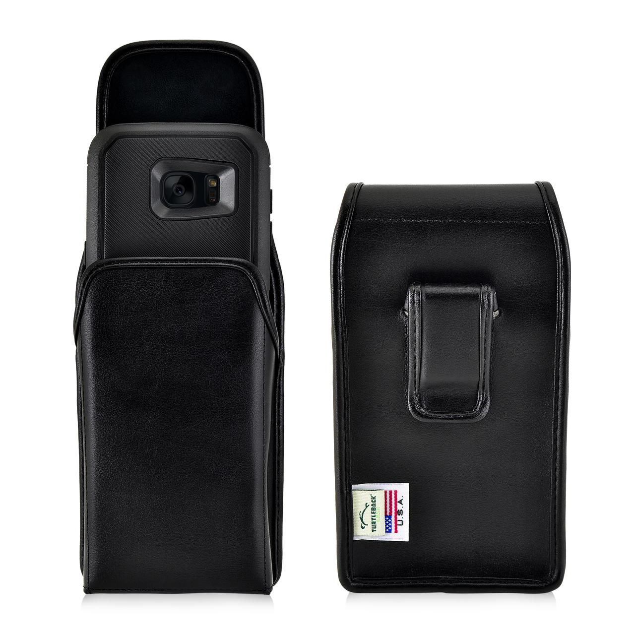 info for 66920 d3c14 S7 Edge Leather Vertical Holster Black Clip Fits Otterbox Defender