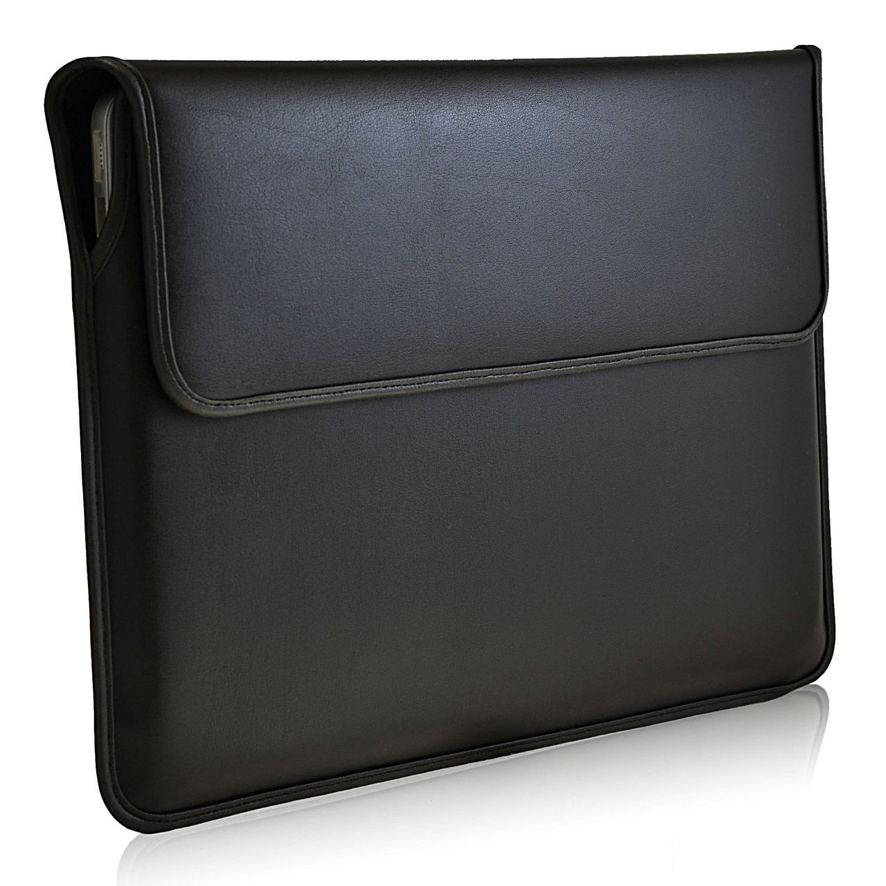 new style 44376 c9189 Black Leather 13.3in Laptop Sleeve Case for MacBook Air, Macbook Pro with  Retina, Ultrabook