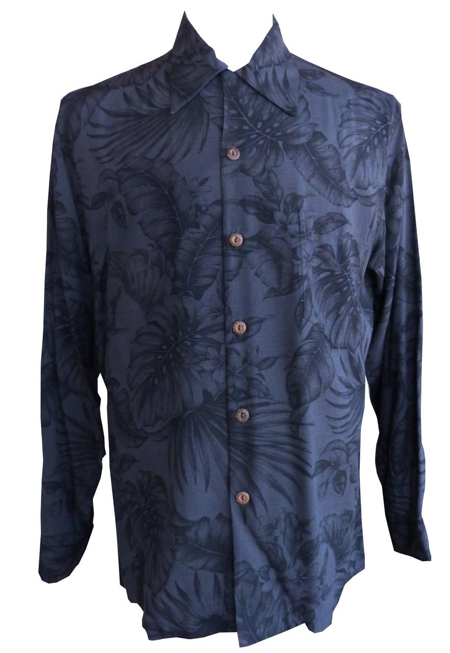 46145ca83 Paradise Found Mens Midnight Garden Kamehameha Style Long Sleeve Shirt -  OhanaWear