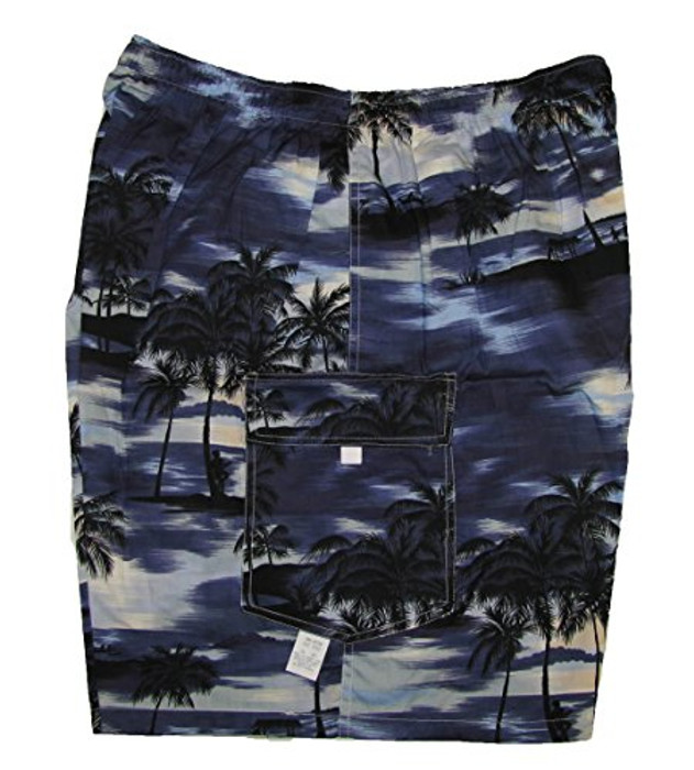 44f7c8ca841 Night Time Surf Men s Hawaiian Elastic Waist Flap Pocket Cargo Shorts