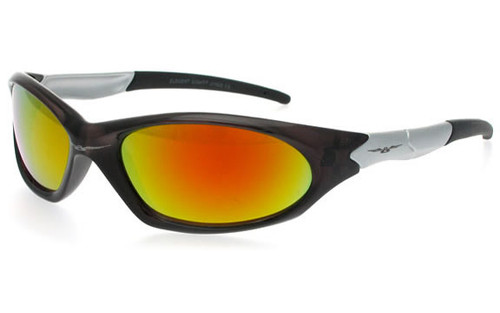 Crystal Black-Silver Frame/Orange Revo Lens