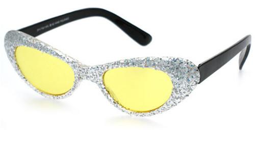 Silver Glitter Frame/Yellow Lens