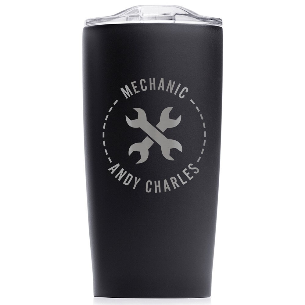 Personalized Mechanic  Stainless Steel Tumbler Black