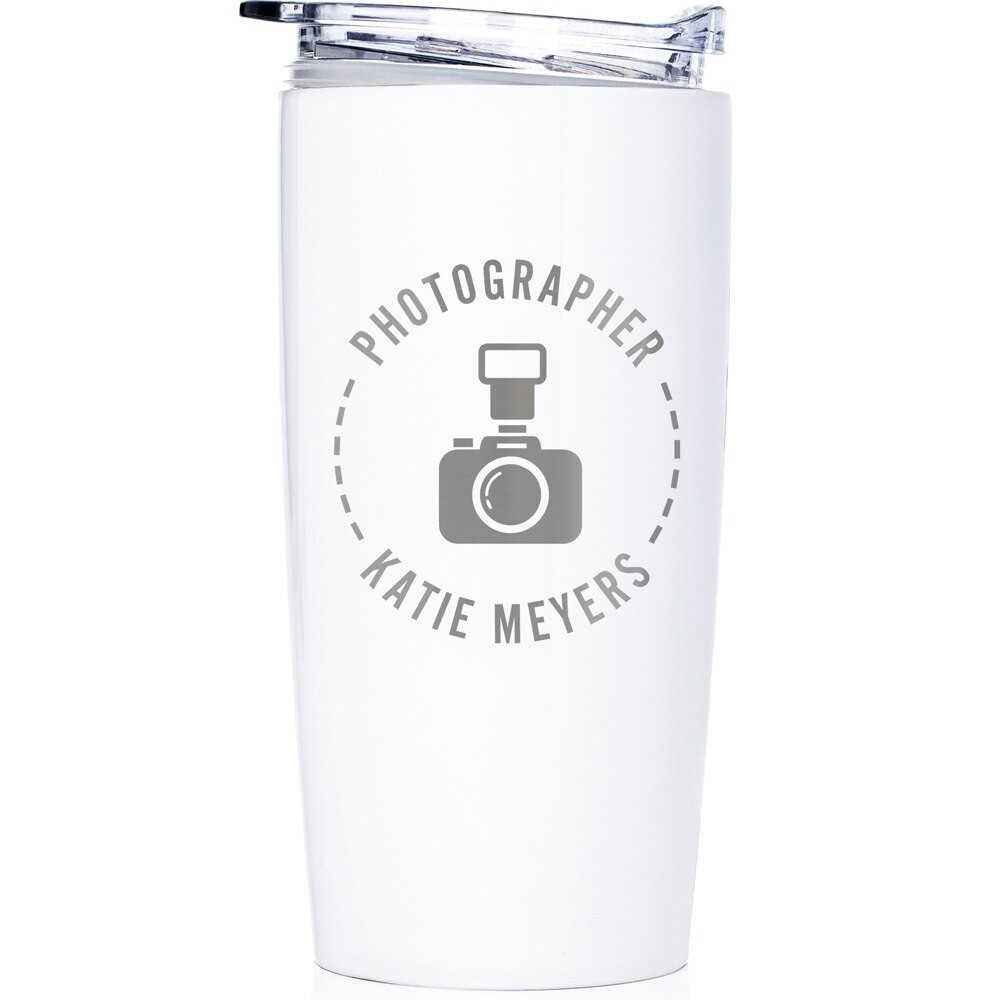 Personalized Photographer Stainless Steel Tumbler White