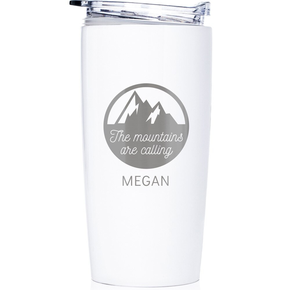 Personalized Mountain/Hiking Stainless Steel White Tumbler