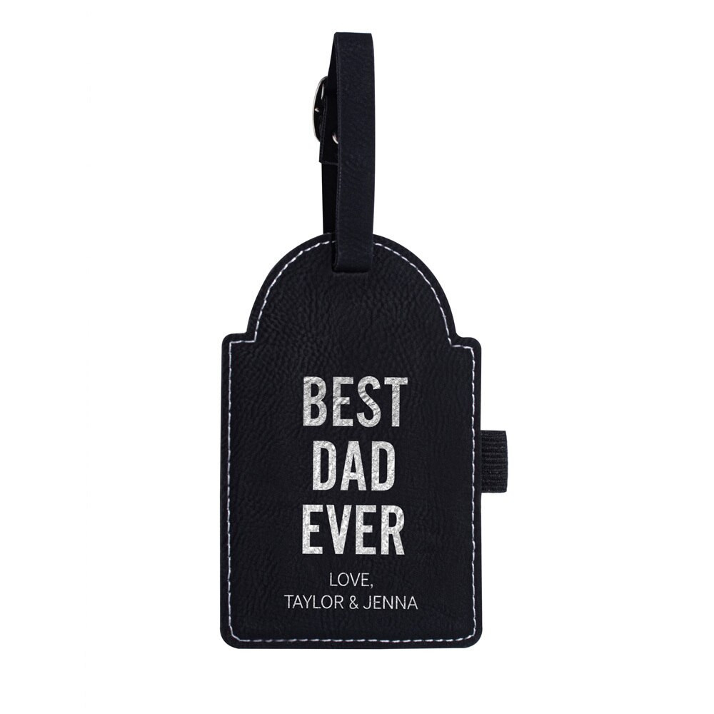 Personalized Father's Day Dad Golf Bag Tag Black