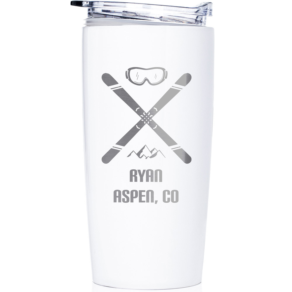 Personalized Skiing Stainless Steel Tumbler White