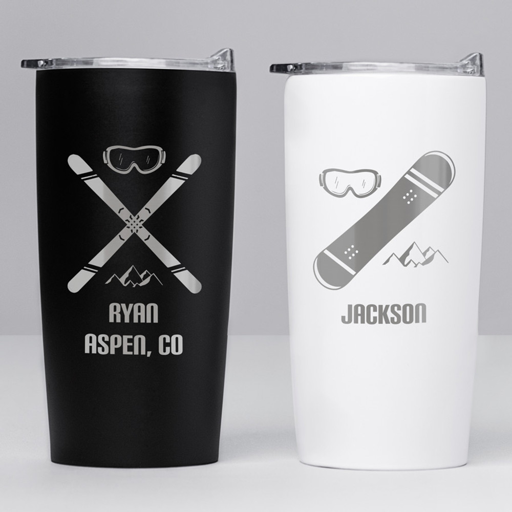 Personalized Skiing or Snowboarding Stainless Steel Tumbler