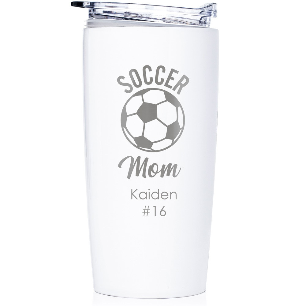 custom soccer mom gift tumbler white