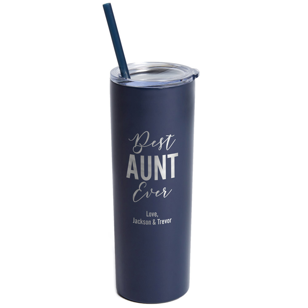 Personalized Best Auntie Ever Skinny Navy Tumbler