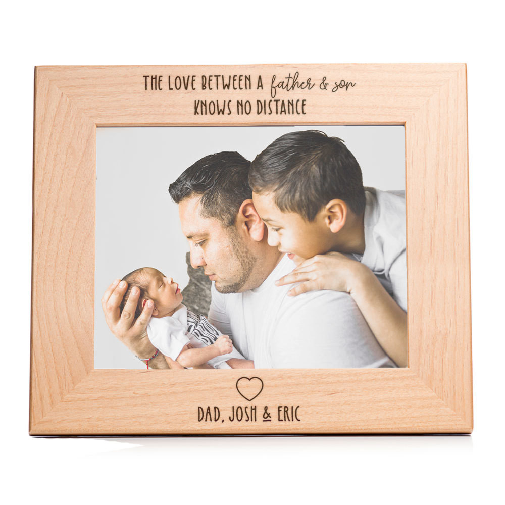 love between father and son knows no distance personalized picture frame