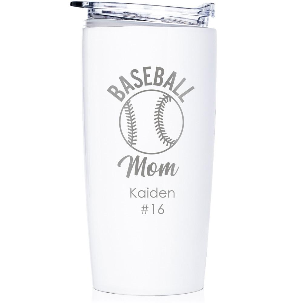 baseball mom gift tumbler white