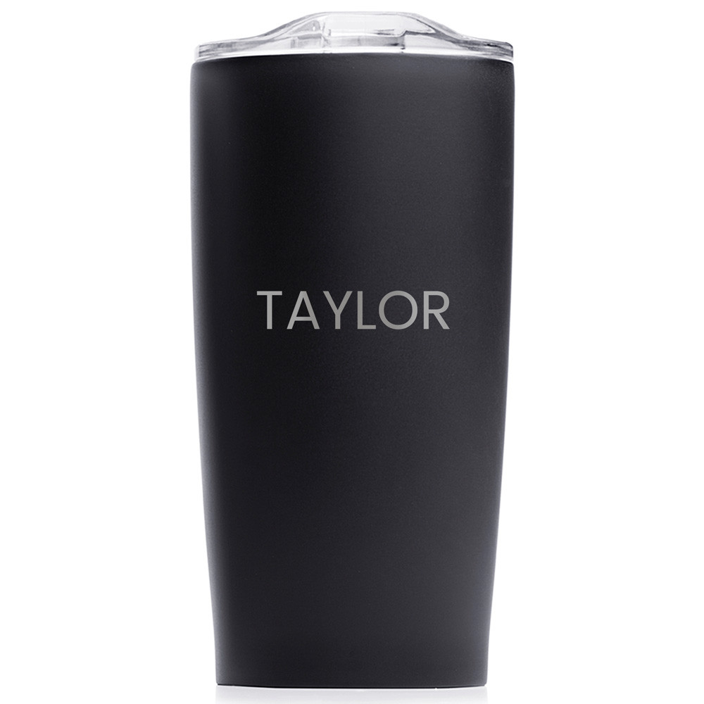 personalized tumbler with name engraved black