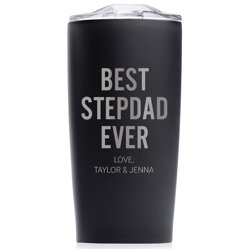 Personalized Father's Day Best Stepdad Ever Coffee Tumbler Black