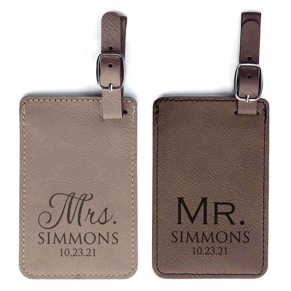 Personalized Mr & Mrs Luggage Tags Pair Light Brown & Dark Brown Set