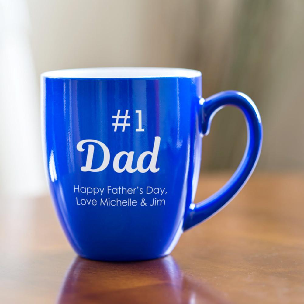 Personalized dad blue bistro coffee mug