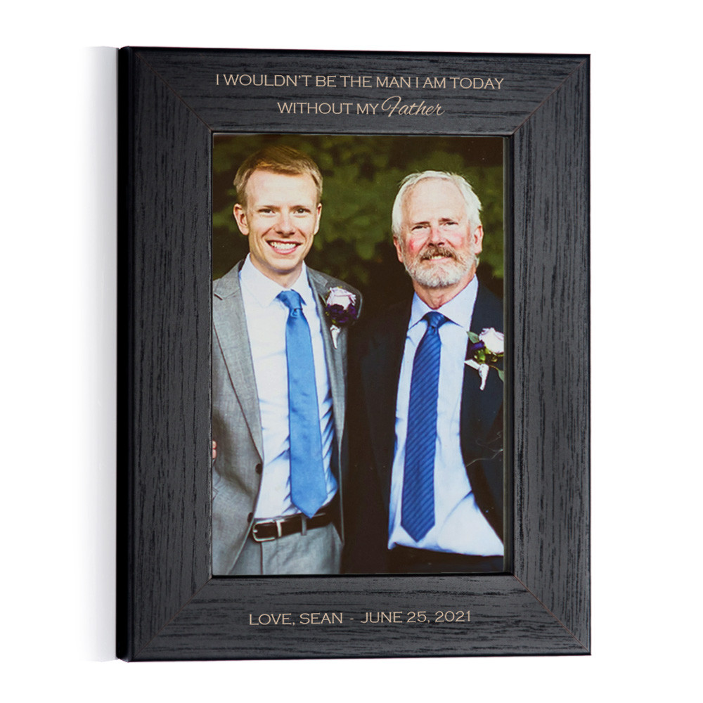 Personalized Father of the Groom Photo Frame (Black) Portrait