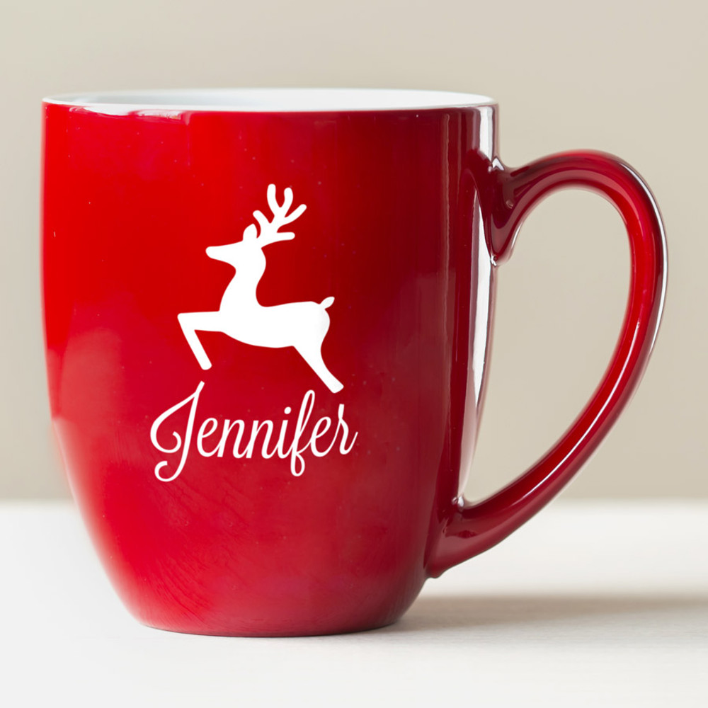 Christmas Coffee Mugs.Personalized Reindeer Coffee Mug