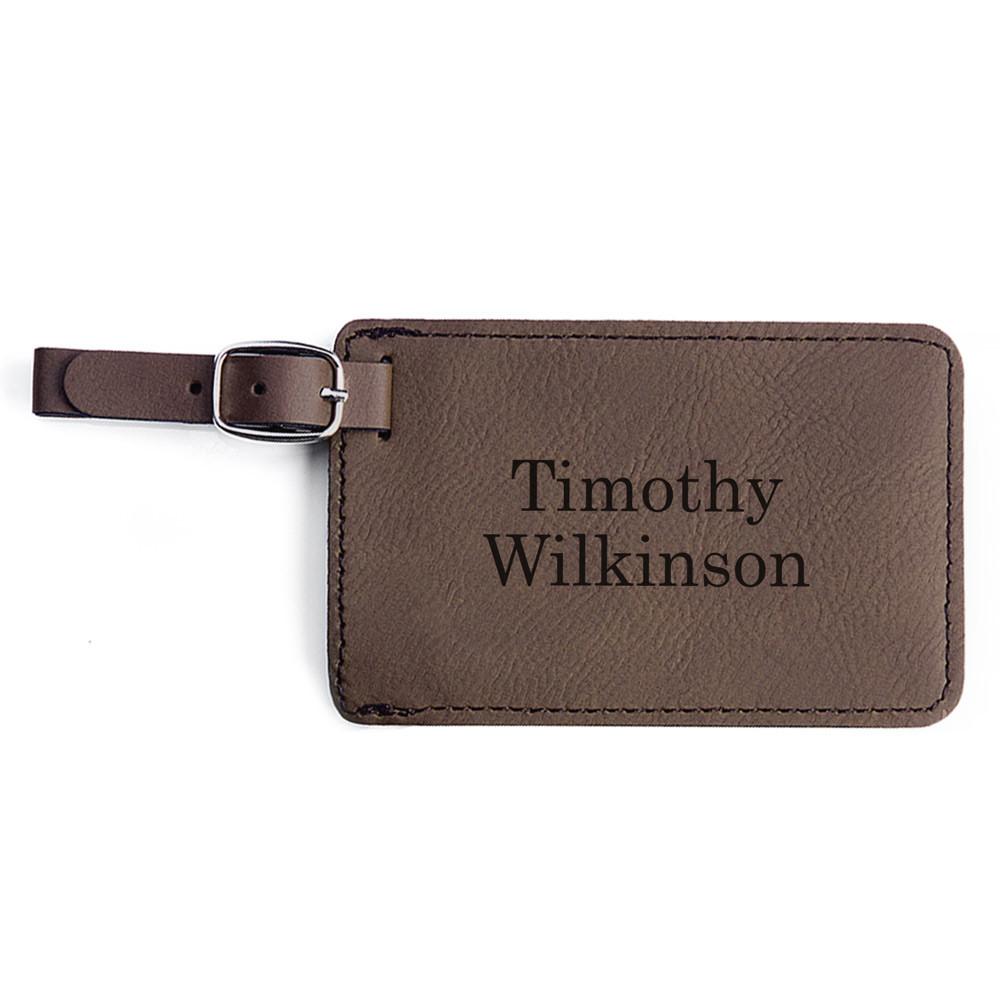 Engraved custom luggage tags dark brown