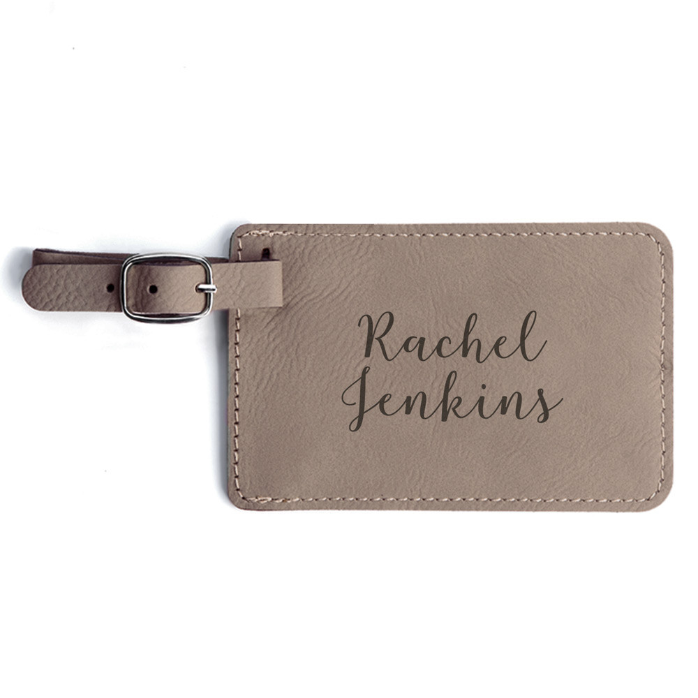 Engraved custom luggage tags light brown