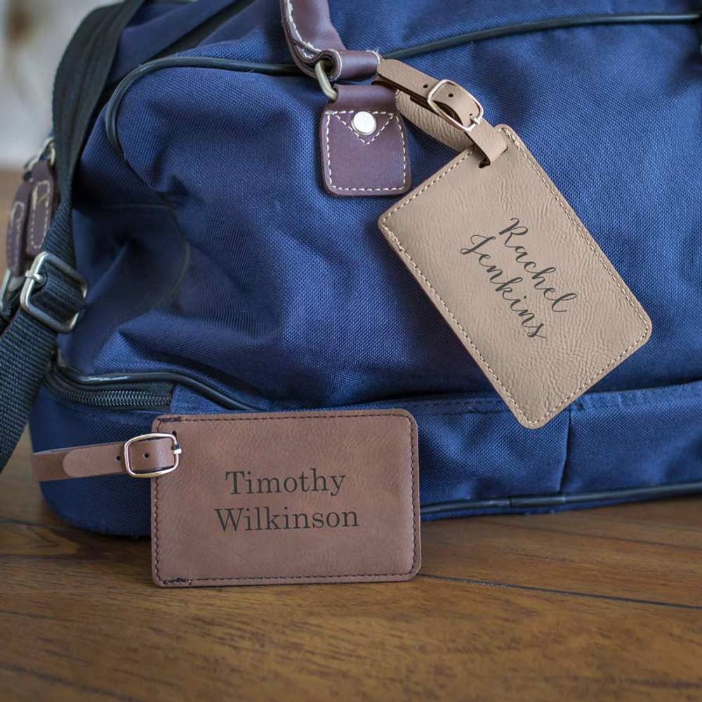 Vegan leather personalized luggage tags