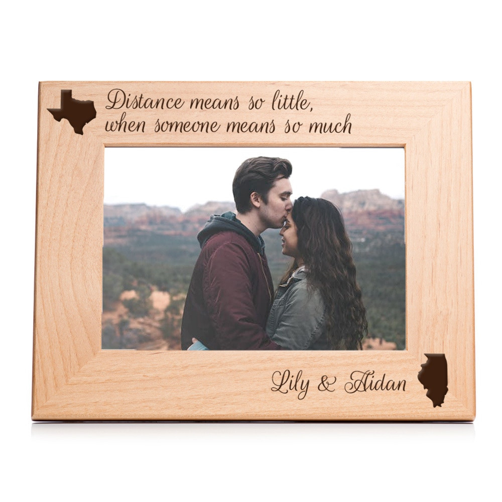 personalized long distance picture frame gift for couples landscape