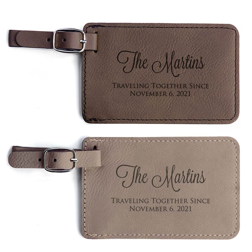 Personalized Anniversary Luggage Tags Dark Brown and Light Brown Pair