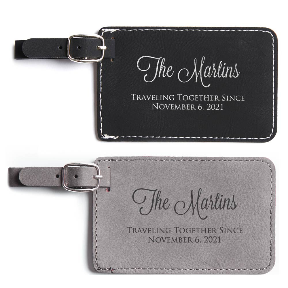 Personalized Traveling Together Initials Luggage Tags Pair 2 Pair Dark Brown /& Light Brown - Custom Anniversary Vegan Leather Luggage Tag Traveling Gift With Initials