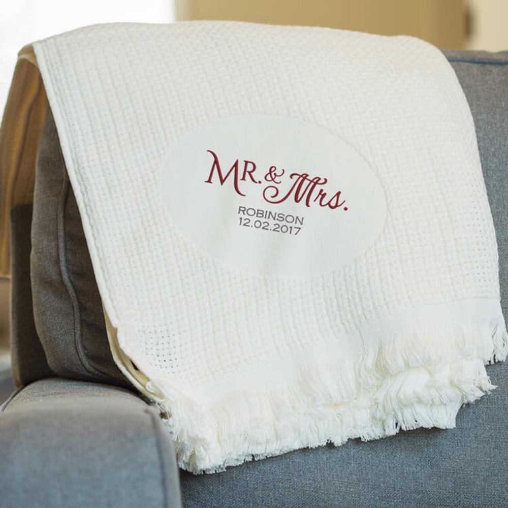 Embroidered Mr. & Mrs. Blanket