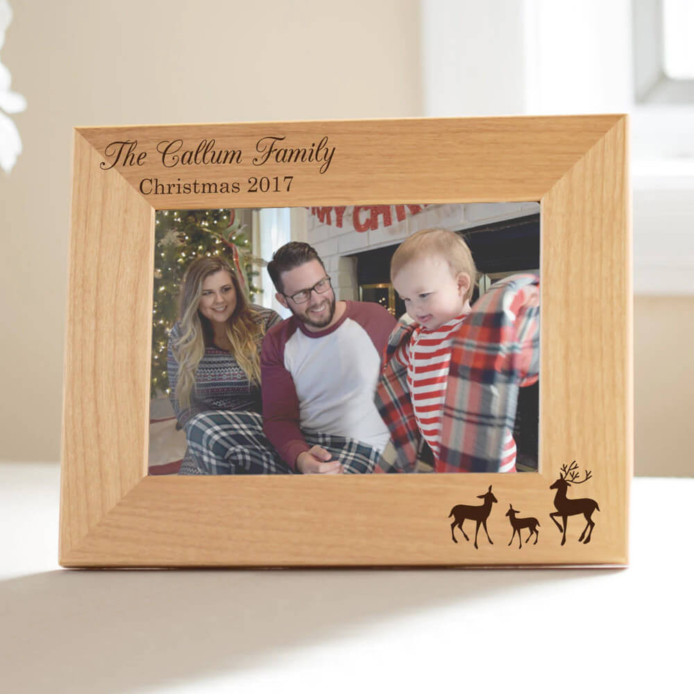 Personalized Reindeer Family Christmas Picture Frame