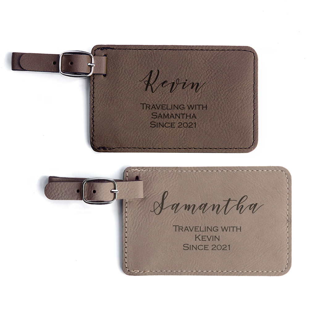 Personalized Traveling Couple Luggage Tags Pair