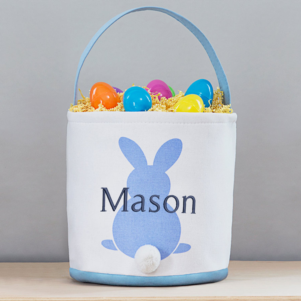 Lifetime Creations Blue Embroidered Soft Personalized Easter Basket