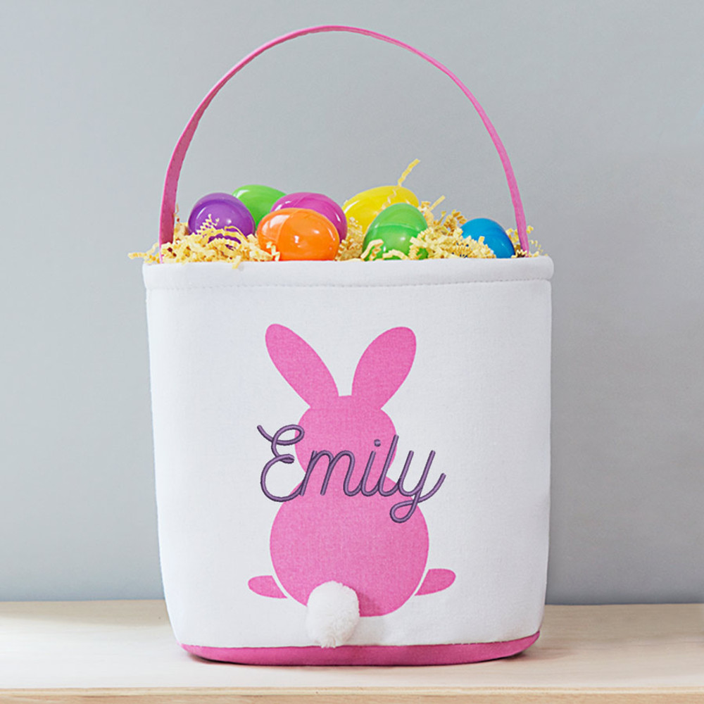 Lifetime Creations Pink Embroidered Soft Personalized Easter Basket