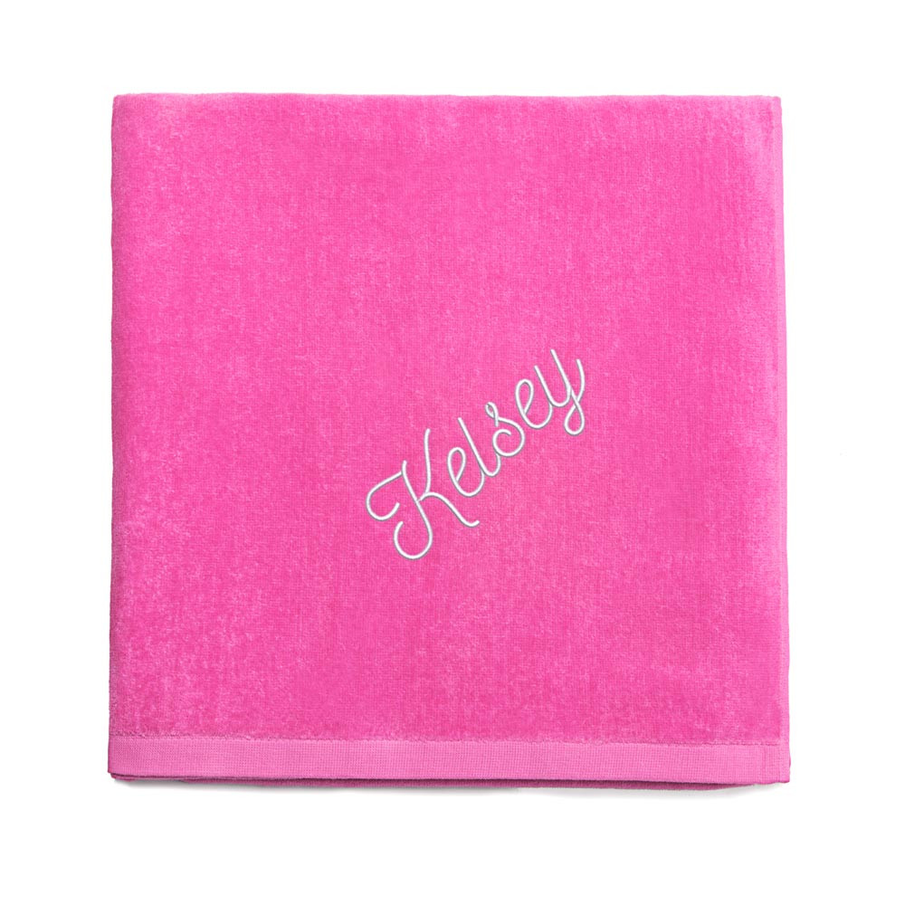 Personalized embroidered hot pink beach towel