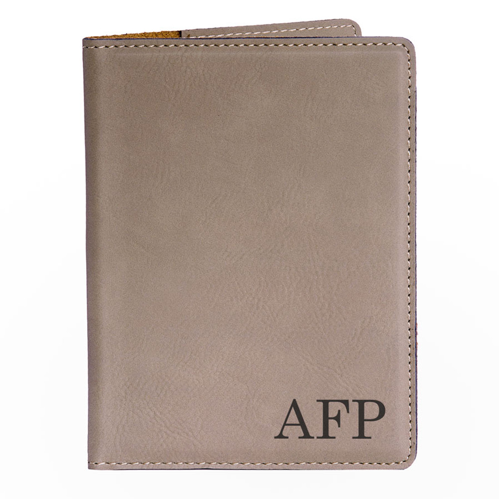 Personalized Light Brown Passport Cover - Monogrammed