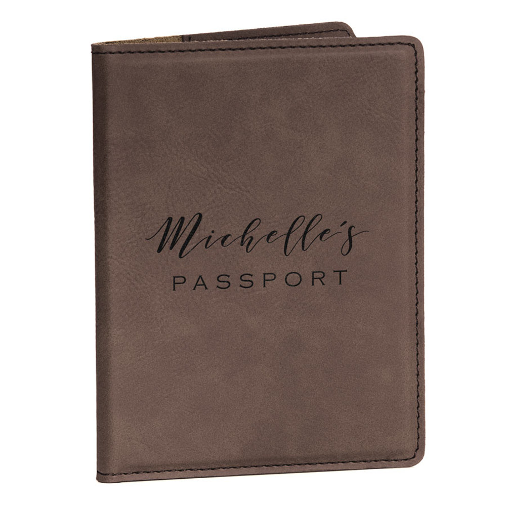 Personalized Dark Brown Passport Cover with Name