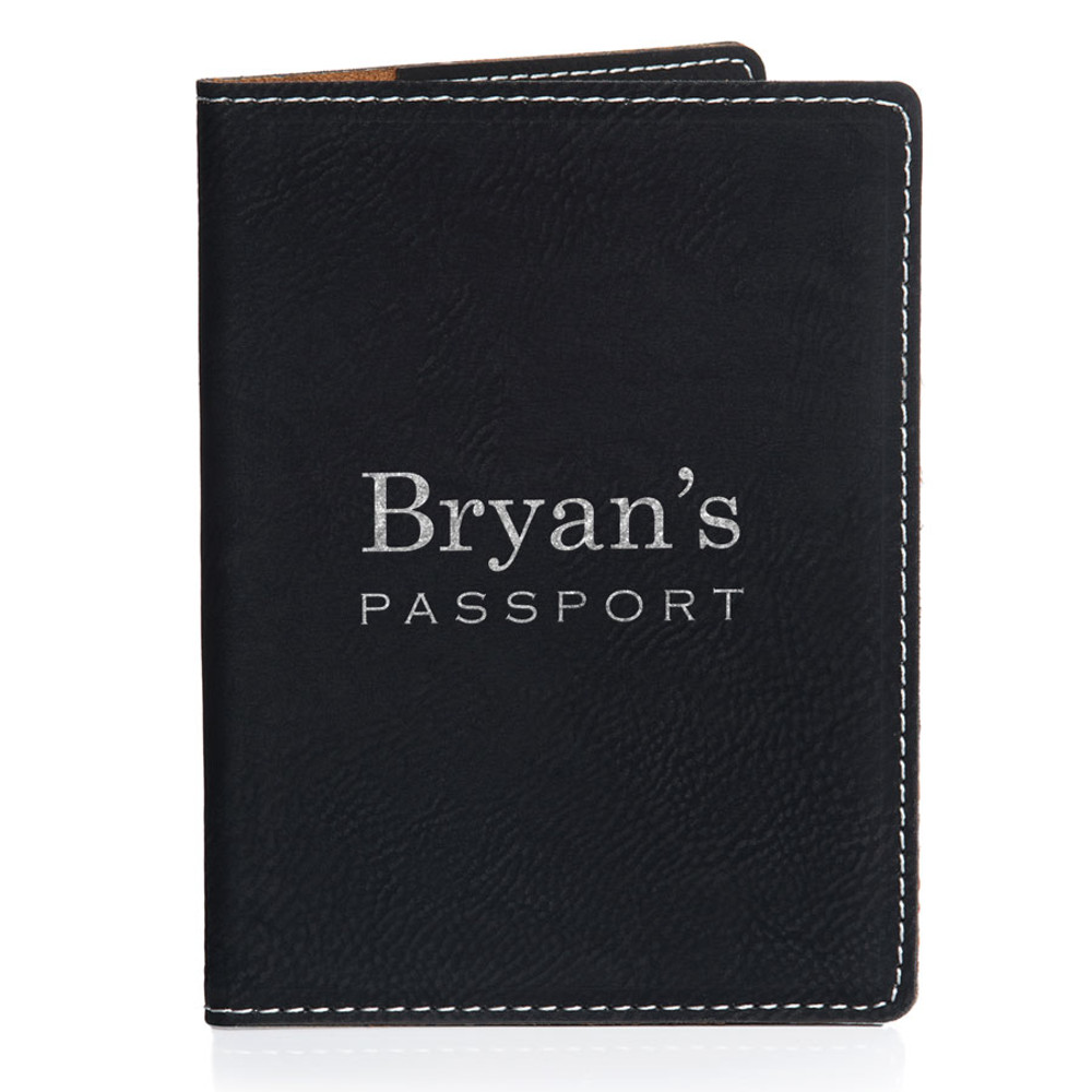 Personalized Black Passport Cover with Name