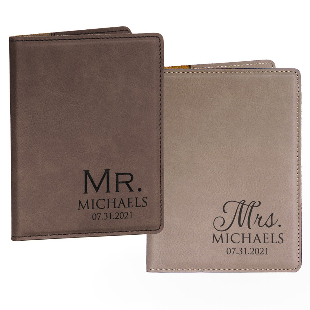 Personalized Mr. & Mrs. Dark Brown and Light Brown Passport Covers Pair