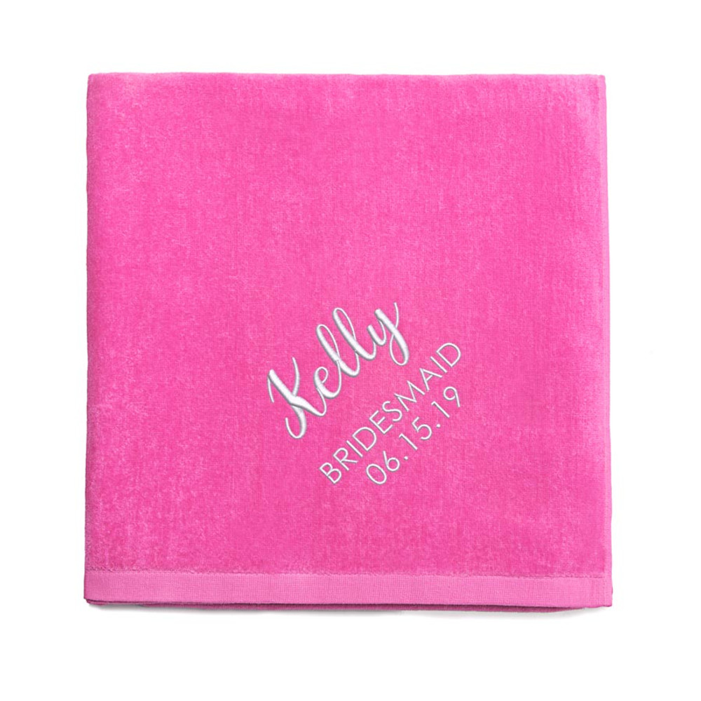 Personalized Bridesmaid embroidered Hot Pink Beach Towel